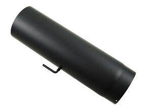 Rauchrohr-Lange-1000-mm-Drosselklappe-DN-120-mm-Schwarz-Kamin-Stahl-Ofenrohr-Neu