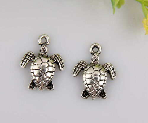 30pcs en Alliage de Zinc Sea Turtle Tortues Pendentifs 15x12mm 1A9