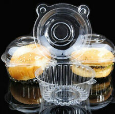 50pcs/set Cup Cake Boxes Clear Plastic Single Cupcake Muffin Case Pods Domes JTV