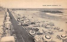 C51 / Barnwell North Carolina NC Postcard c1930s Beach Scene Boardwalk