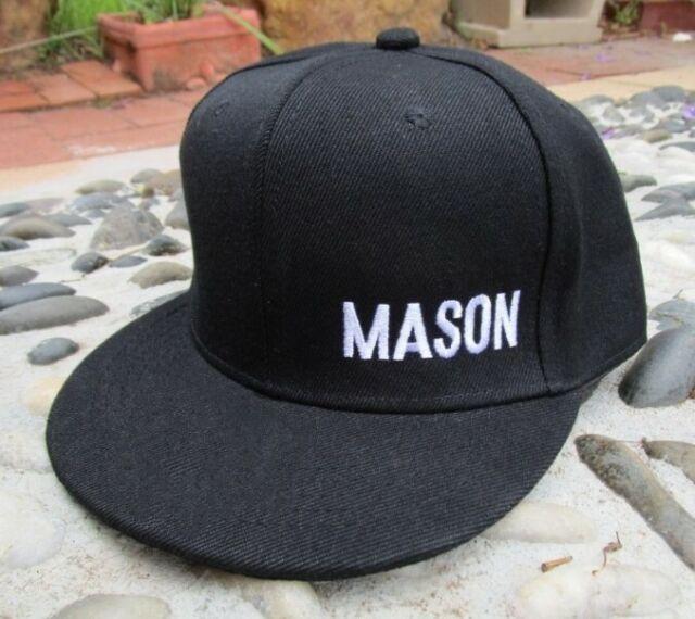 Personalised Adult Flat Peak Custom Name EMBROIDERED Snapback Black Hat Cap