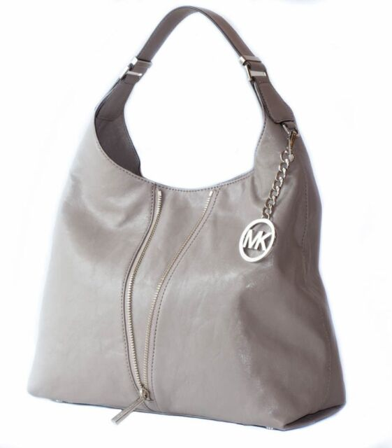 New Michael Kors Newman Light Ash Grey Leather Large Hobo Shoulder Tote Hand