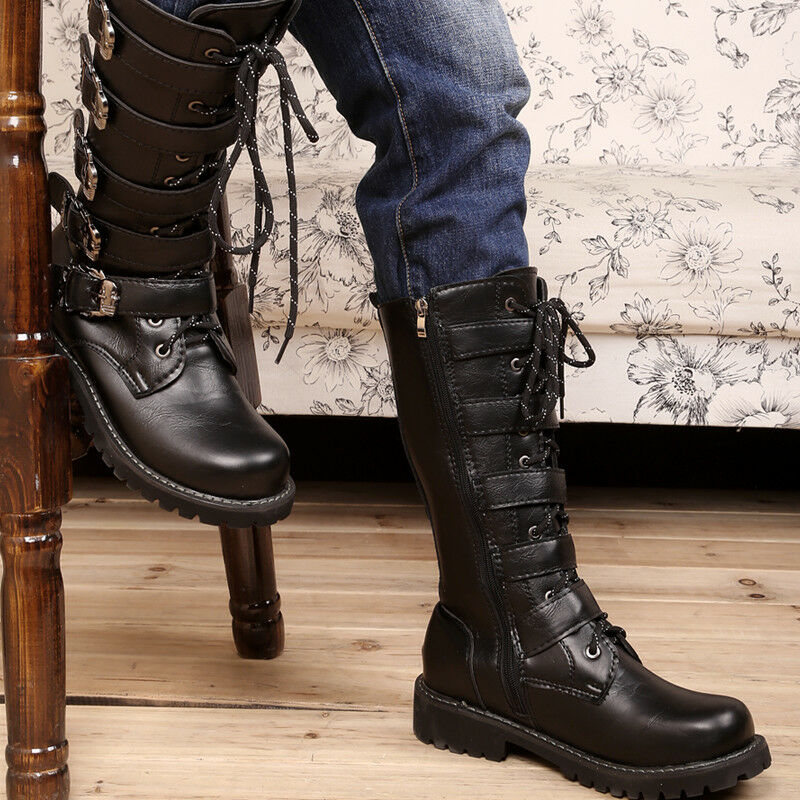 Men Fashion-Mid Calf Boots Zipper Buckle Strappy Punk Motorcycle Stylish Shoes