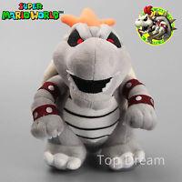 """New Super Mario Bros. Gray Bone Dry Bowser Plush Soft Toy Stuffed Doll Teddy 11"""""""