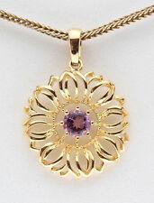 Yellow 18K Gold Sterling Silver Amethyst Pendant Flower Christmas Gift Present