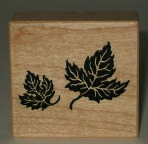 PSX-Rubber-Stamp-Pair-of-Leaves-Wood-Mount-1-5-034-x-1-5-034