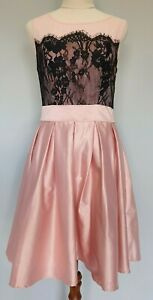 Review-Size-10-Cocktail-Party-Pink-Black-Lace-Contrast-Pleated-Dress-GUC