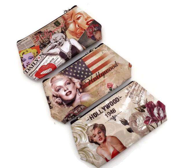 Retro Marilyn Hollywood Design Make Up Bag Purse Pencil Case Ladies Girls Gift