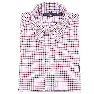 0167k Camicia Uomo Ralph Lauren Slim Fit White/bordeaux Cotton Shirt Man Tempi Puntuali