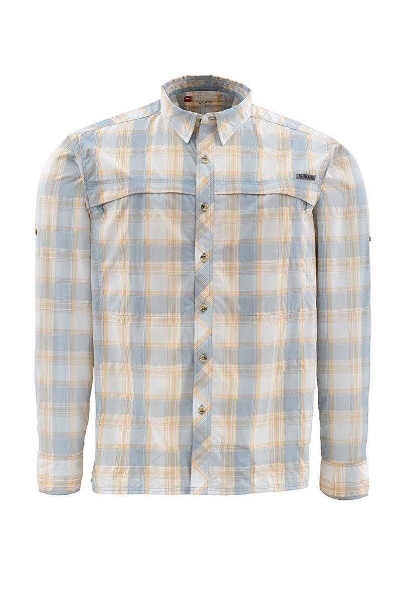 Simms STONE COLD Long Sleeve Shirt NEW ~ NEW Shirt Slate blu Plaid ~ Small ~ CLOSEOUT 7d09d7