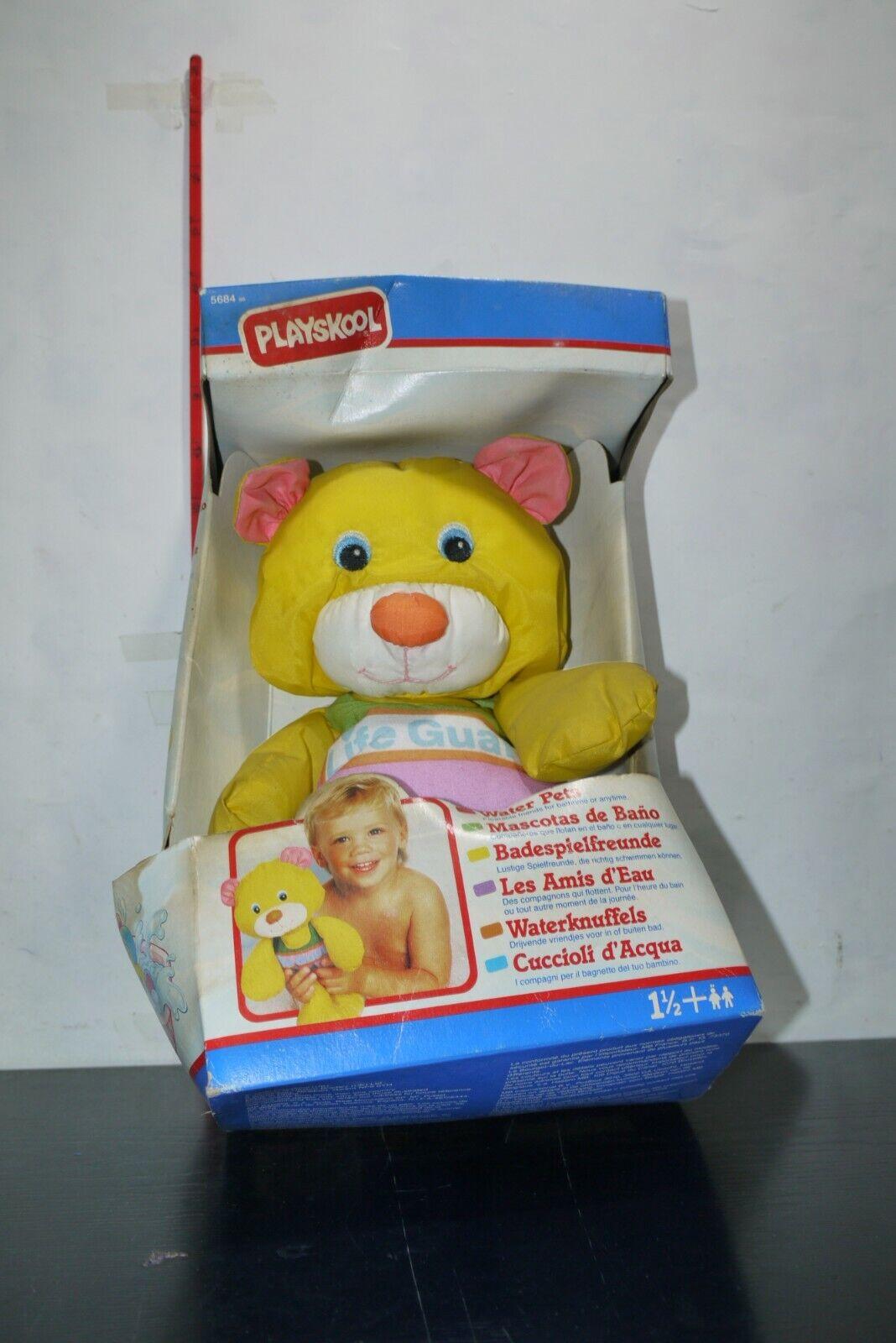 1990 Vintage Playskool Water Water Water Pets Baby 12  Yellow Life Guard Teddy Bear Toy ab0101