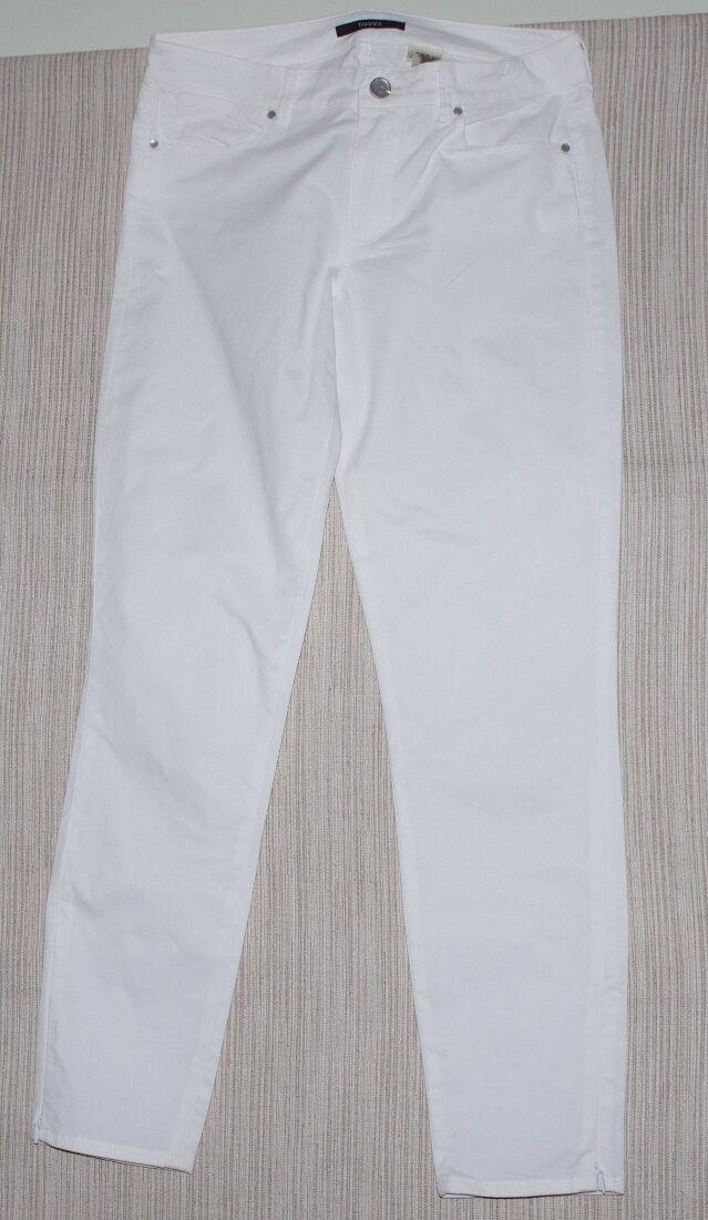 Tahari Ivory Cotton Stretch Skinny Women Cropped Pants Size 8