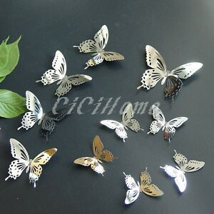 Image Is Loading 10pcs 3D Butterfly Wall Decor Art Mirror Wall