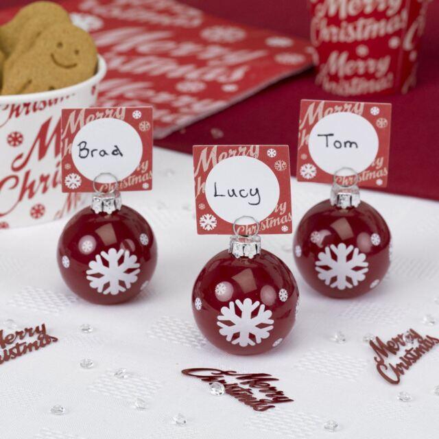 Merry Christmas Table Decoration Red Bauble Place Card Holders Pack
