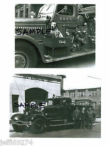 FDNY-FIRE-TRUCKS-ENGINE-20-w-DOG-amp-ENGINE-156-1930s-1940s-2-PHOTOS-NYC-Free-Ship