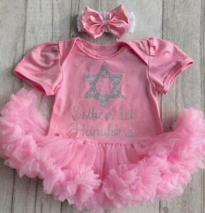 4d0ebfa8d92e BABY GIRL S PERSONALISED 1ST HANUKKAH Tutu Romper Dress CELEBRATION ...