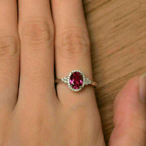 Elegant-Oval-Red-Ruby-Halo-925-Silver-Engagement-Jewelry-Wedding-Ring-Gorgeous