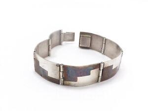 925 Sterling Silver Vintage Mexico Heavy Tribal Link Bracelet 6 34