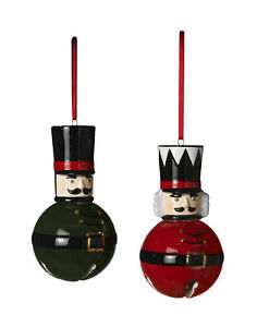 2pc-Christmas-Nutcracker-Toy-Soldier-Bell-Ornament-Classic-Red-Black-Holiday-Set