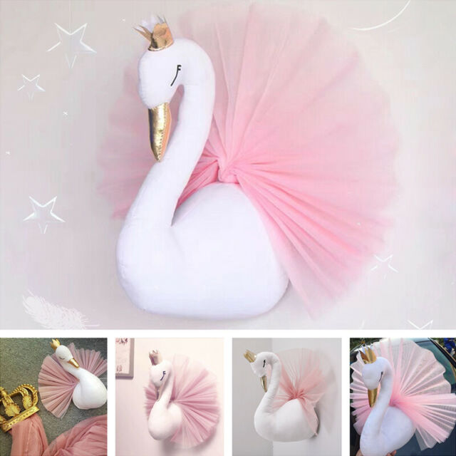 Cute Pink Crown Swan Doll Wall Hangings Children's Room Decor Toy Birthday Gift