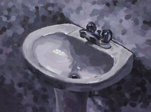 Bathroom-Sink-Original-Still-Life-Painting-FRAMED-12-x-16-by-John-Wallie