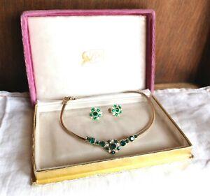 Vintage-Coro-Green-Rhinestone-Slide-Necklace-Matching-Earrings-in-Original-Box