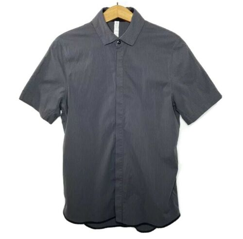 Lululemon Polo Shirt S Gray Short Sleeve Button Up