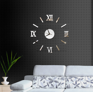 3d Large Wall Clock Roman Numeral Metallic Mirror Stick On