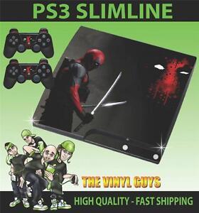 Doux Playstation Ps3 Slim Autocollant Deadpool Mercenary Wade 001 Skin & 2 Pad