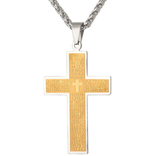 New Gold Plated Stainless Steel Latin Cross Bible Text Pendant Necklace Jewelry
