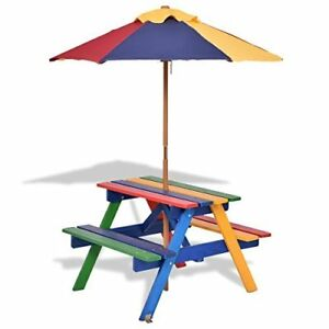 Kids Picnic Table Bench Parasol Umbrella Garden Outdoor Patio - Picnic table parasol