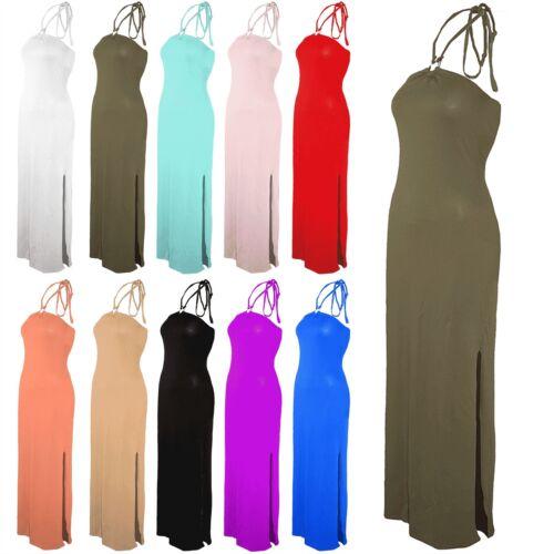 Ladies Womens Halter Neck Ring Backless Long Side Split Bodycon Maxi Dress 8-22