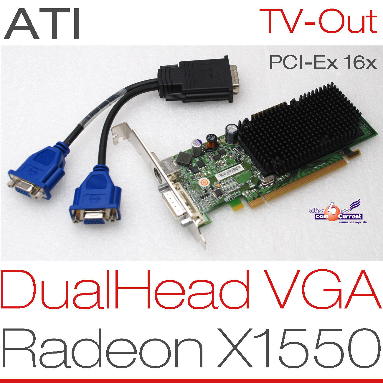 256 MB ATI Radeon X1550 RV516 Pcie Dual Head 2x VGA Graphic Card Win XP 7 8 -G12