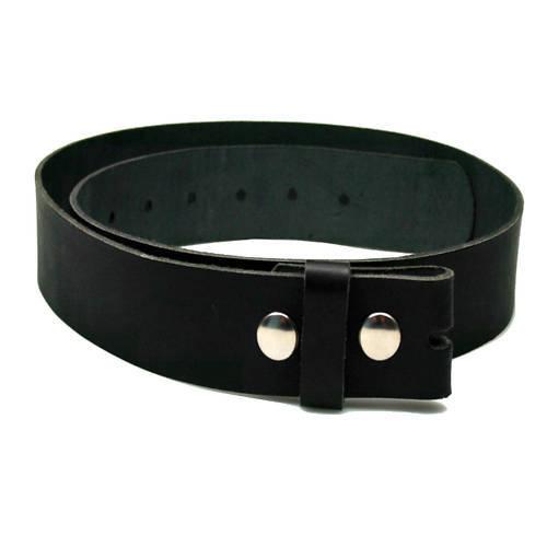 * 001 Pelle Cintura Buckle 115 Cm Nero Con Bottone A Pressione