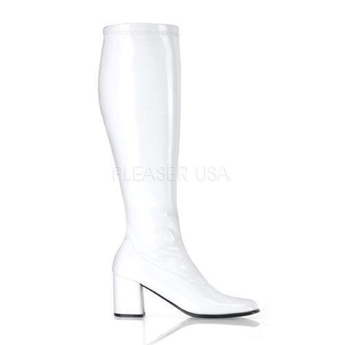 White Wide Calf Drag Crossdresser Tranny Costume Go Go Knee Boots size 12 13 14