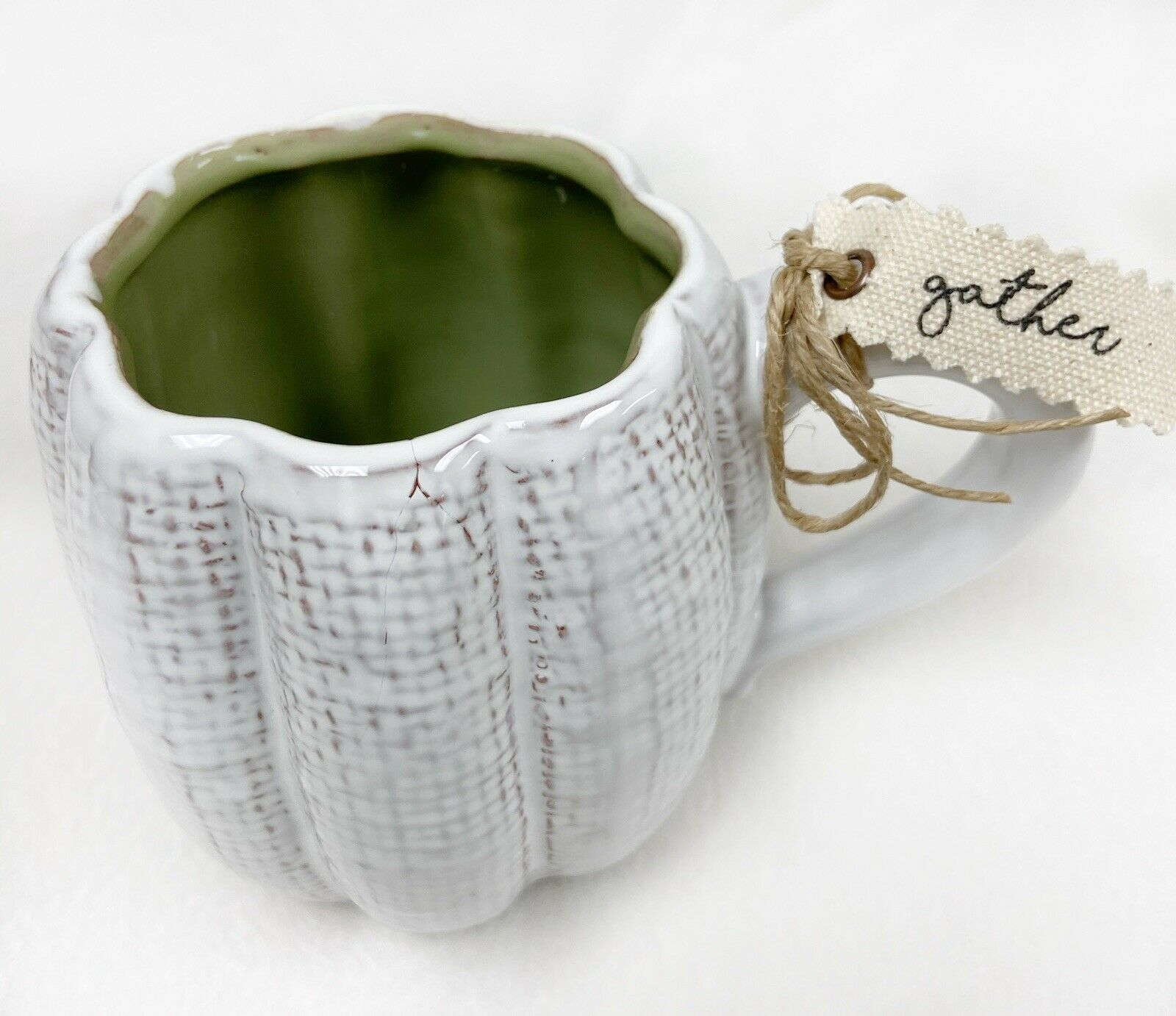 4 Available NEW Mud Pie Pumpkin Mug White Textured Fall Thanksgiving Cup