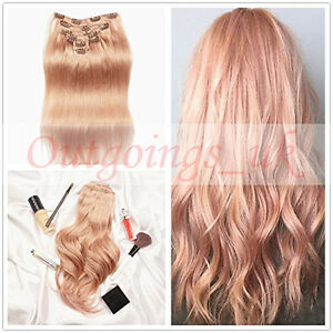 Rose gold blonde clip in hair extensions straight remy human clip image is loading rose gold blonde clip in hair extensions straight pmusecretfo Choice Image