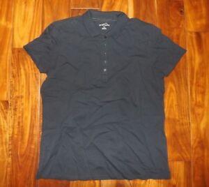 615dae191 NWT Womens Eddie Bauer Navy Blue Short Sleeve Polo Shirt Top Size XL ...