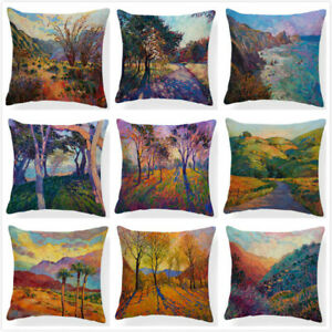 Colorful Trees Mural Cushion Cover Home Decorative Countryside Sceni Pillow Case