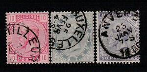 FRANCOBOLLI-1883-BELGIO-LEOPOLDO-II-C-10-20-50-Z-9418