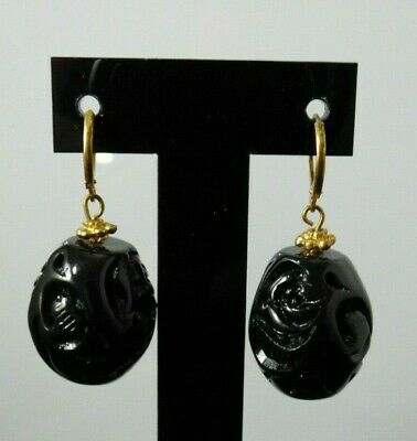 Vintage Lucite Black Circle Drop Earrings