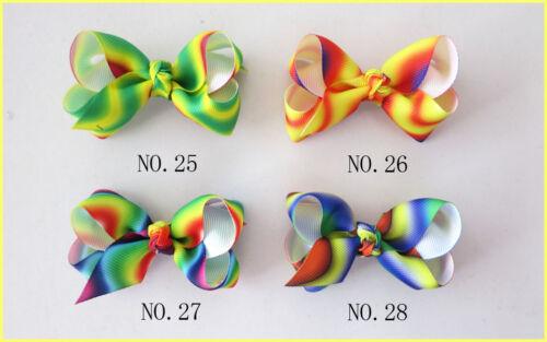 "200 BLESSING Good Girl Boutique 2.75-3/"" ABC New Rainbow Stylish Hair Bow Clip"
