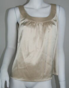 St-John-Ivory-Beige-Satin-Sleeveless-Gathered-Neckline-Blouse-S-4-6-SM-Small
