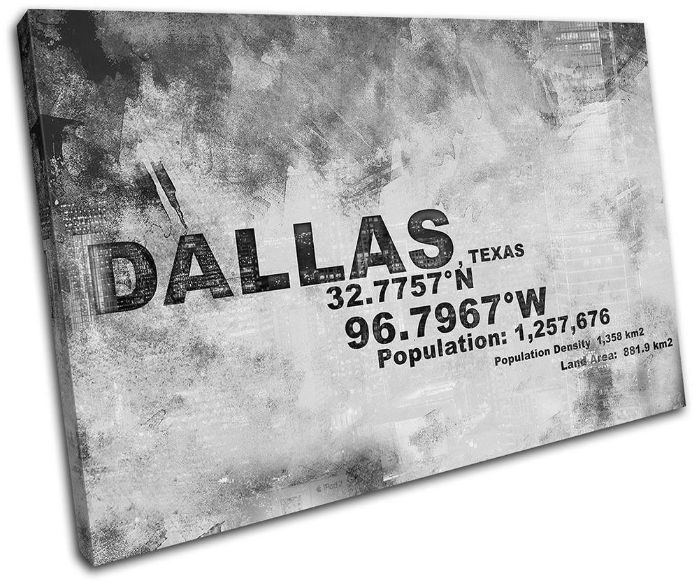 Dallas Texas USA City Typography SINGLE Leinwand Wand Kunst Bild drucken
