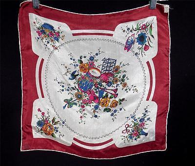 """Sammlung Hier Vintage 1950's Festlich Blumenmuster Fein Seide """" Schal 16 1 2 W X 17 """" L"""