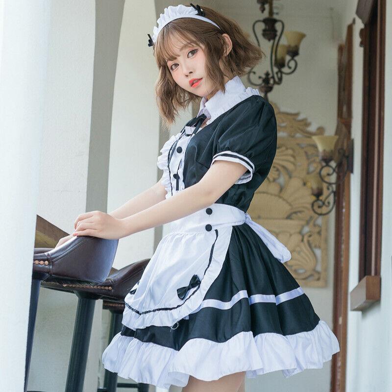 Women French Maid Fancy Dress Costume Ladies Outfit Waitress Uniform Oversized