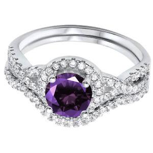 Amatista-Real-Compromiso-Infinity-Imitacion-Diamantes-Plata-de-Ley-Juego-Anillo
