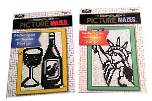 Picture-Mazes-Maze-Puzzle-Book-Kids-Adults-Activity-Books-Set-of-2-NEW