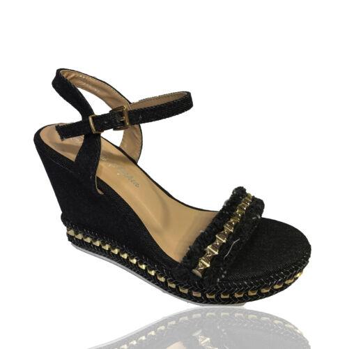 Femme espadrilles compensées à lanières haut Compensé Clouté Sandales Chaussures Taille