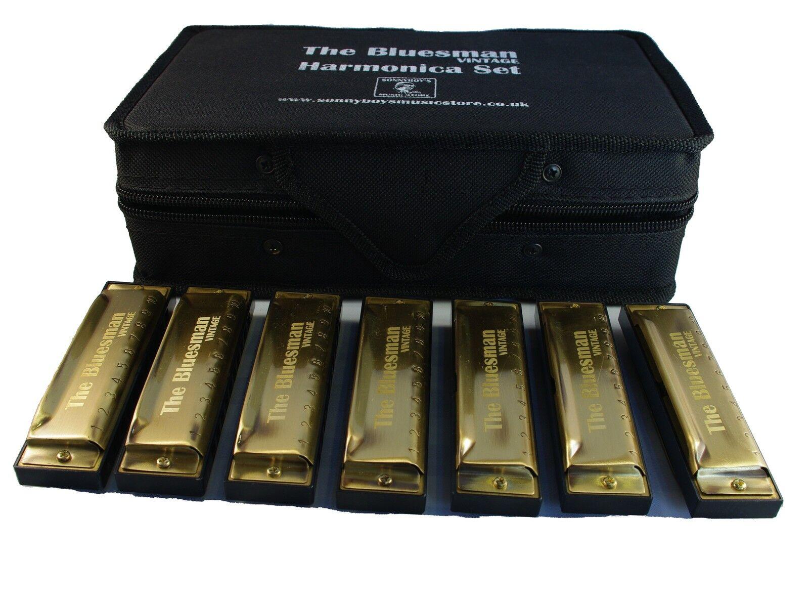 Blausman Vintage Harmonica Boxed sets of 3, 7 or 12 harmonicas